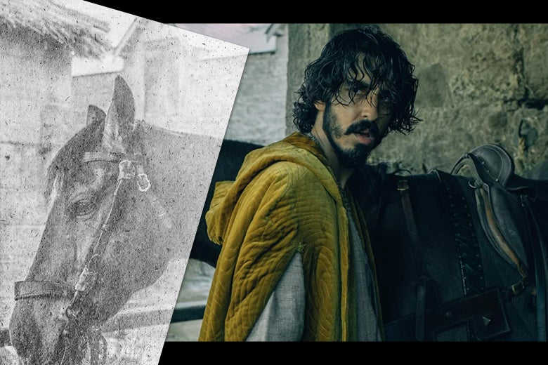 Dev Patel in The Green Knight, with the image of a sheet of paper.