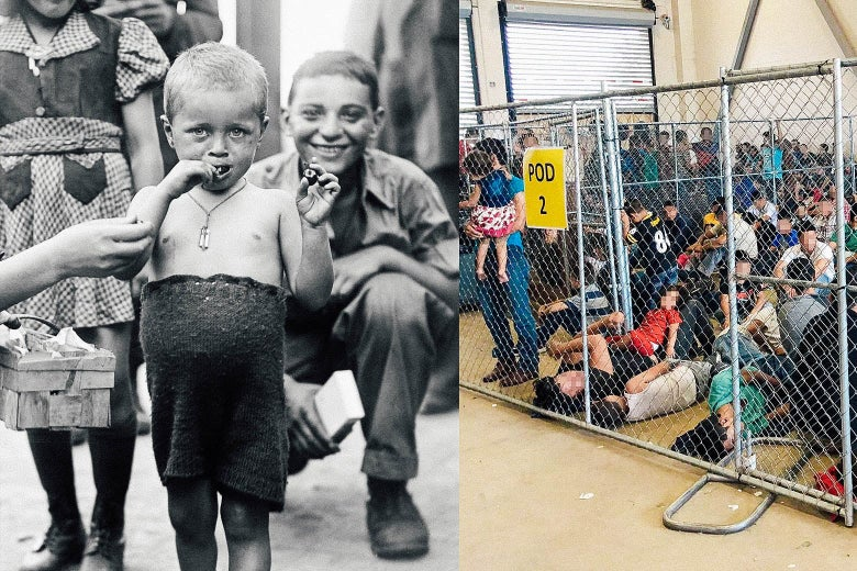 Side-by-side photos of a child survivor of the Buchenwald concentration camp and parents and kids crowded inside a Border Patrol station cage