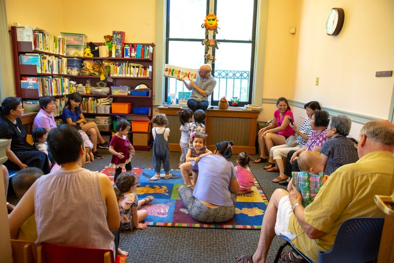 Families gathered for story time.