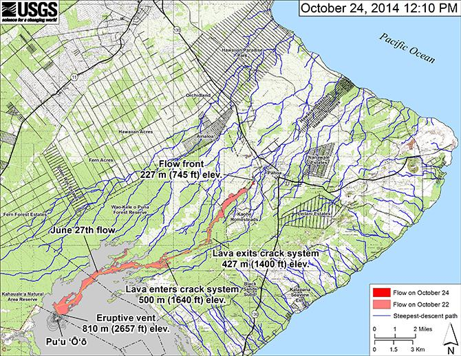 A map from the USGS shows the lava plume from its source at the Pu'u 'O'o vent of the Kilauea volcano, about 12 miles away.