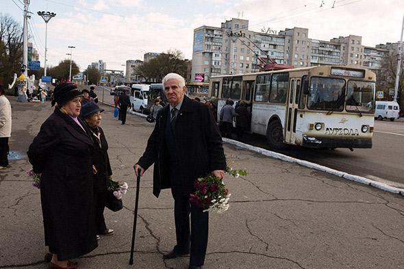 Street scene in Tiraspol, Moldova. November 2013.