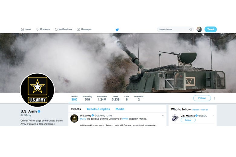 Screenshot of @USArmy, taken on April 6, 2018.