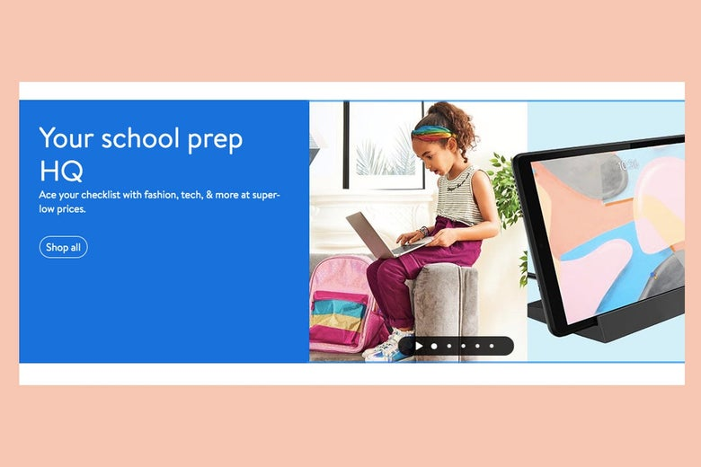 """An ad showing a child perched on the arm of a couch with a laptop and the words """"Your school prep HQ"""""""