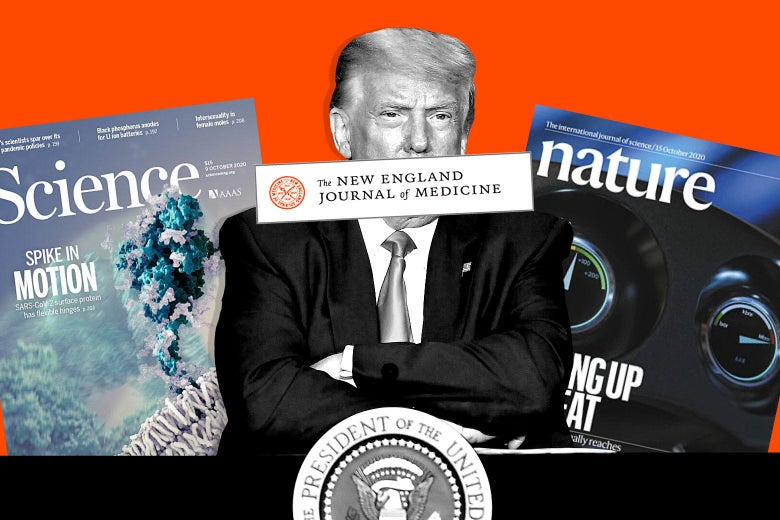 Collage of an annoyed Donald Trump sitting with his arms crossed, surrounded by science journals.
