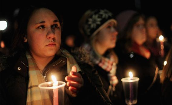 Penn State students at candle light vigil.