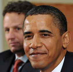 US President Barack Obama, with US Treasury Secretary Timothy F. Geithner.