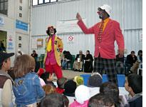 Iraqi clowns stage a performance. Click image to expand.