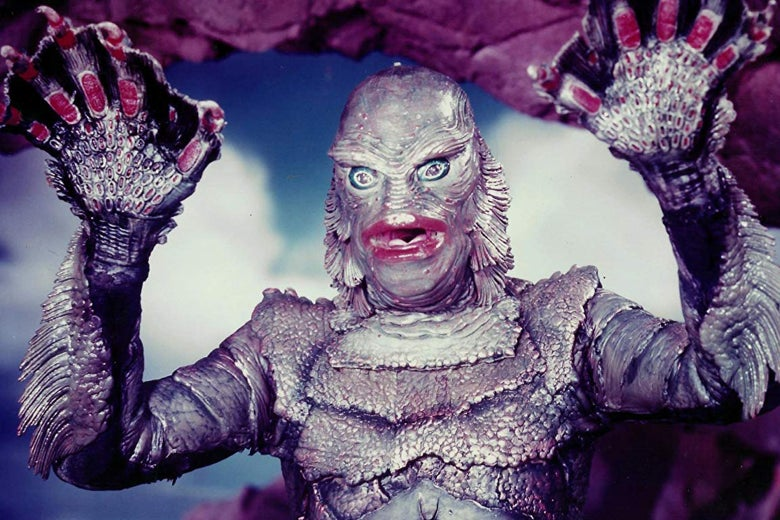 A garish, colorized promotional still of the Creature From the Black Lagoon.