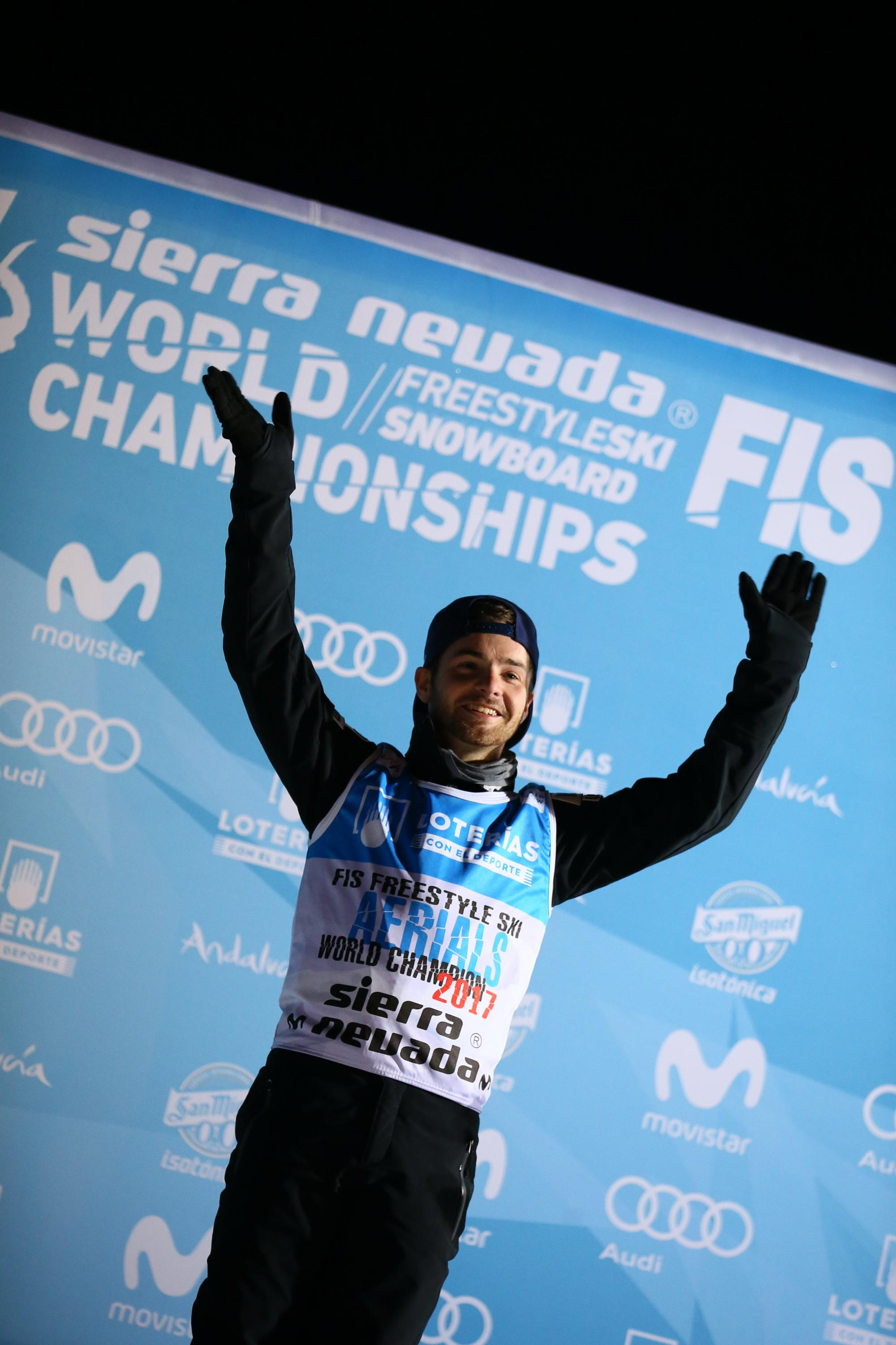 U.S. aerial skier Jonathon Lillis wins the gold medal during the FIS Freestyle Ski & Snowboard World Championships Aerials on March 10 in Sierra Nevada, Spain.