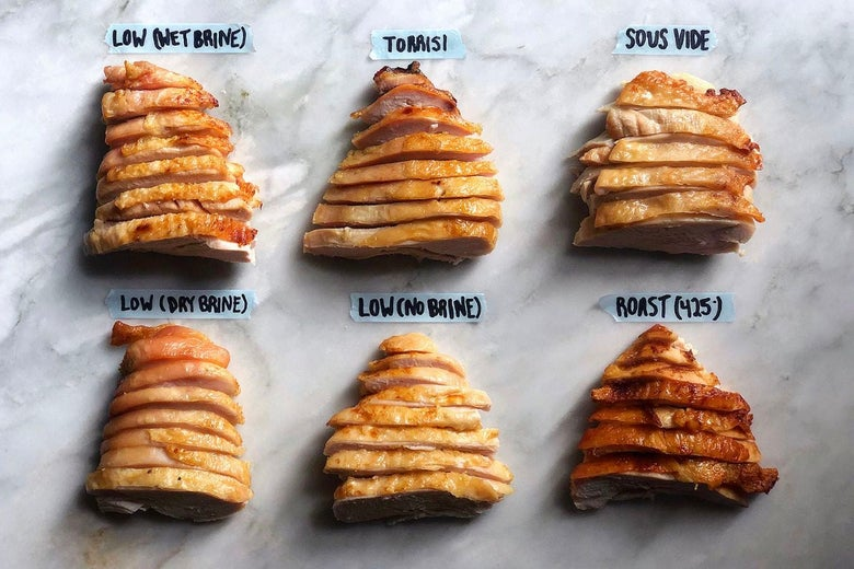"""Six sliced, cooked turkey breasts with the labels """"low wet brine,"""" """"low dry brine,"""" """"low no brine,"""" """"Torrisi,"""" """"sous vide,"""" and """"roast 425"""""""