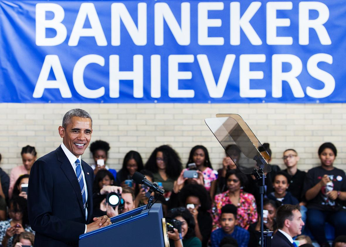 US President Barack Obama delivers remarks on education at Benjamin Banneker Academic High School in Washington,DC on October 17, 2016.