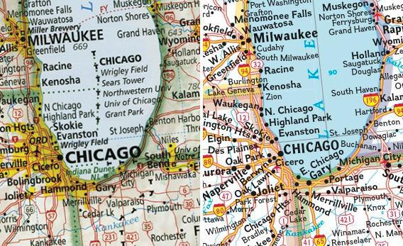 Left: Imus map of Chicago. Right: National Geographic map of Chicago