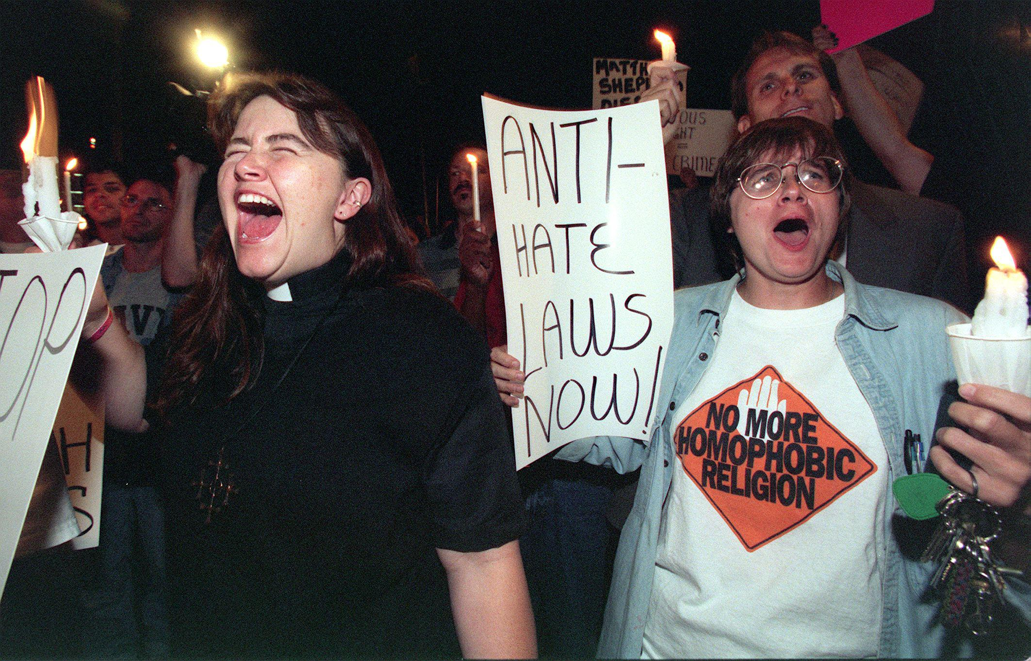 A demonstration in North Hollywood shortly after the murder of Matthew Shepard in Laramie, Wyo., in October 1998.