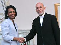 Condoleezza Rice with Afghan President Hamid Karzai. Click image to expand.