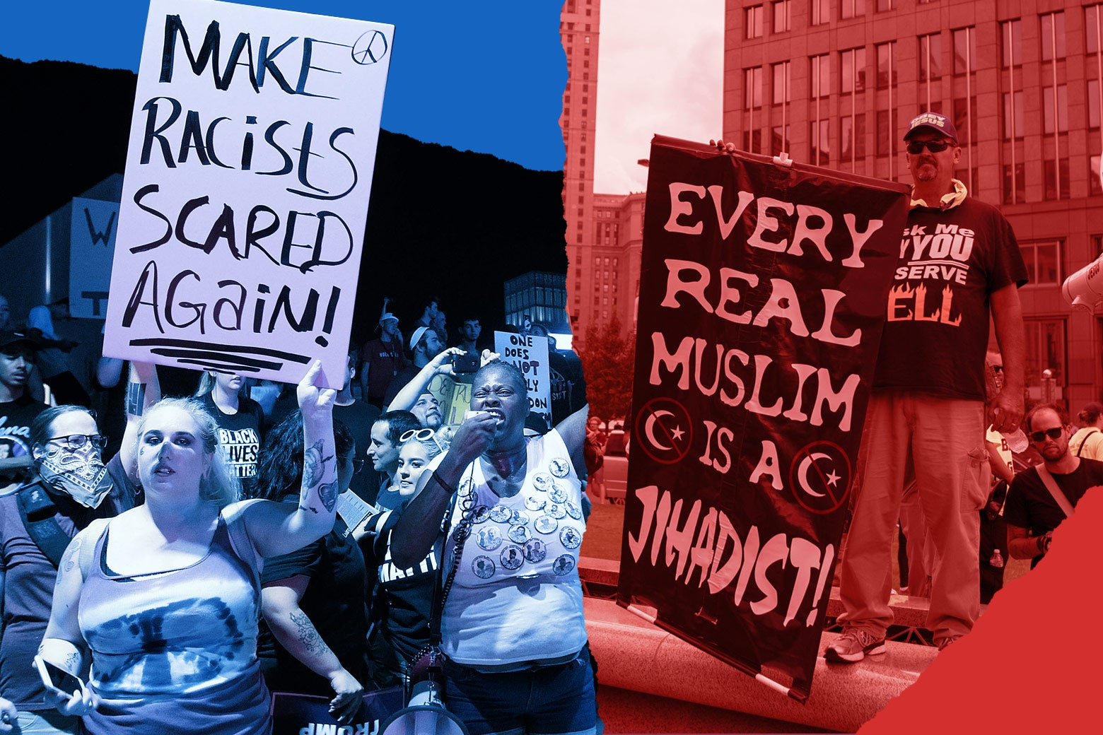 "At left, protesters hold up a sign that says, ""Make racists scared again."" At right, a protester holds up a sign that says, ""Every real Muslim is a jihadist."""