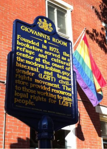 The Pennsylvania Historical and Museum Commission's commemoration of Giovanni's Room, unveiled on Oct. 15, 2011.