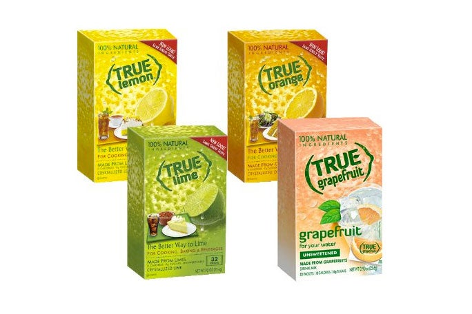 Several True Citrus powder flavors: lemon, orange, lime, and grapefruit.