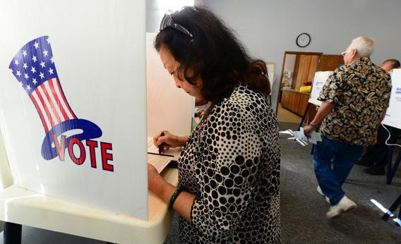 Robena Cheung votes at a polling station on Election Day in California.