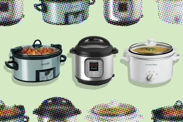 Collage of slow cookers.
