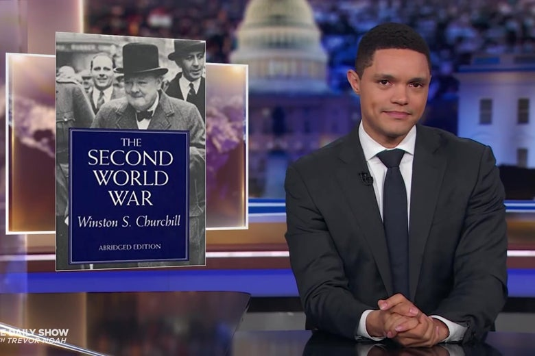 Trevor Noah looks skeptical in front of a picture of The Second World War.