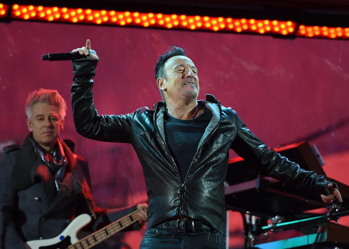 Bruce Springsteen performs during the World AIDS Day (RED) concert in Times Square in New York on December 1, 2014.
