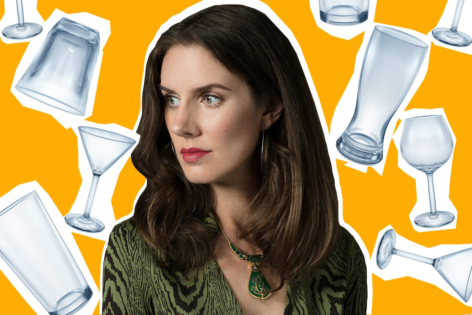 Leslie Jamison surrounded by various glasses—pint glasses, martini glasses, a wine glass, a tumbler.
