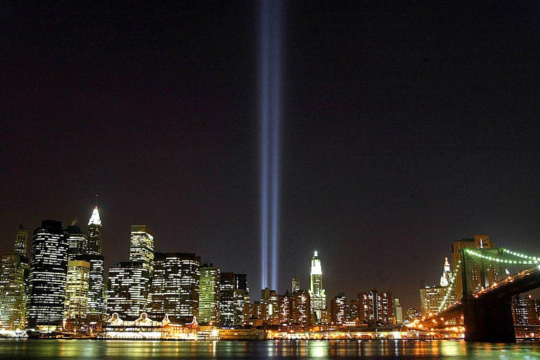 """The """"Tribute in Light"""" interim memorial shows two beams of light where the Twin Towers had stood."""