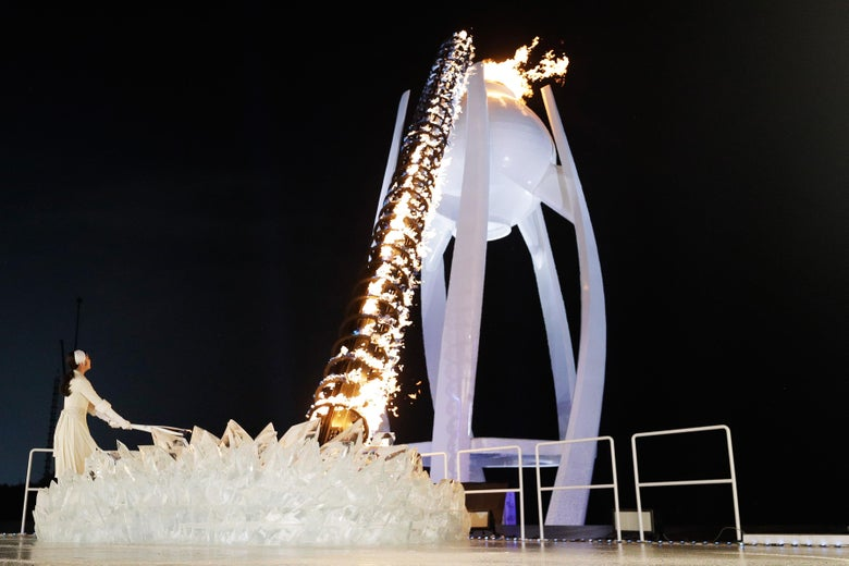 PYEONGCHANG-GUN, SOUTH KOREA - FEBRUARY 09:  The flame burns inside the Olympic Cauldron during the Opening Ceremony of the PyeongChang 2018 Winter Olympic Games at PyeongChang Olympic Stadium on February 9, 2018 in Pyeongchang-gun, South Korea.  (Photo by Pool - David J. Phillip/Getty Images)