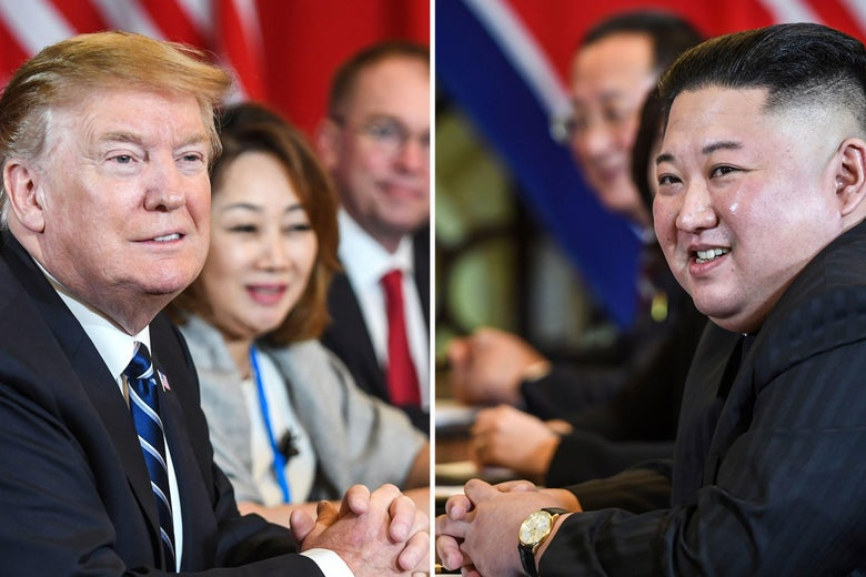 A combination of file pictures made on April 18, 2019, shows President Trump and North Korea's leader Kim Jong Un.