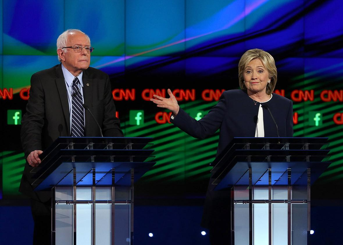Democratic presidential candidates U.S. Sen. Bernie Sanders (I-V