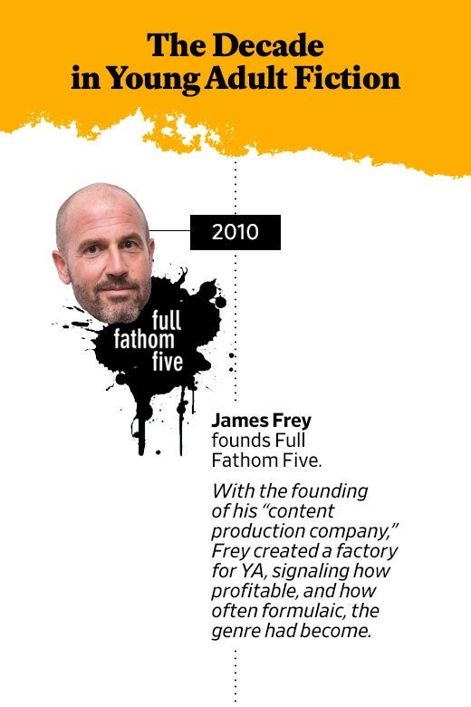 "2010: James Frey founds Full Fathom Five. With the founding of his ""content production company,"" Frey created a factory for YA, signaling how profitable and how often formulaic the genre had become."