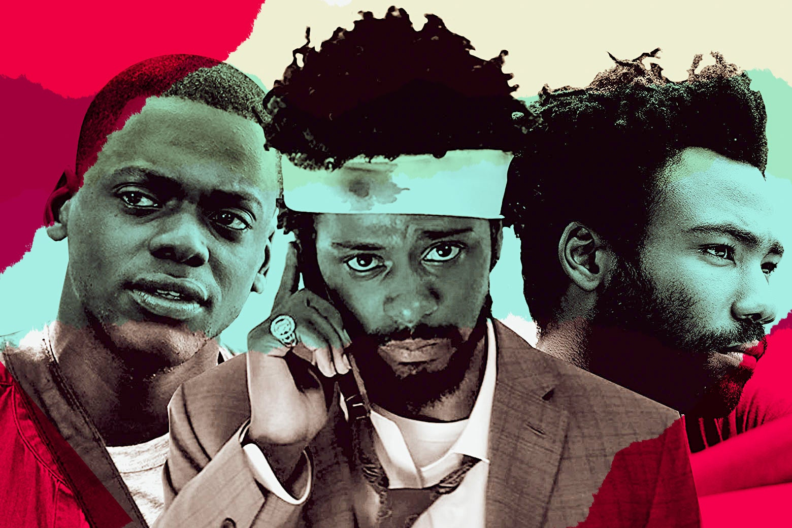Actors Daniel Kaluuya in Get Out, Lakeith Stanfield in Sorry to Bother You, and Donald Glover in Atlanta.