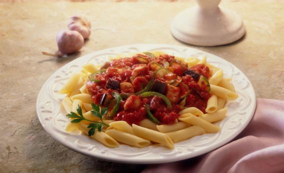 Pasta with sauce.