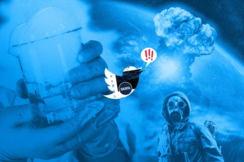 Photo illustration of a spooky beaker, a person wearing a gas mask, and an explosion juxtaposed with the Twitter logo.