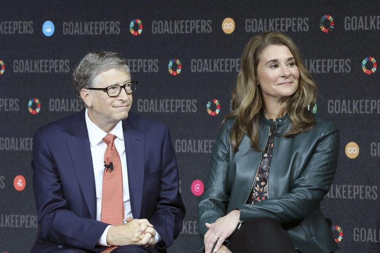Bill Gates and Melinda Gates seated next to each other onstage at an event at Lincoln Center in New York in 2018.