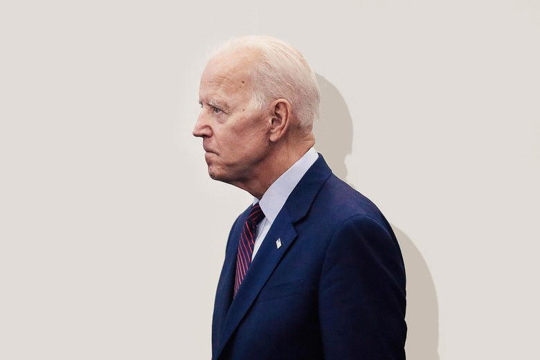 Joe Biden in profile, looking stern.