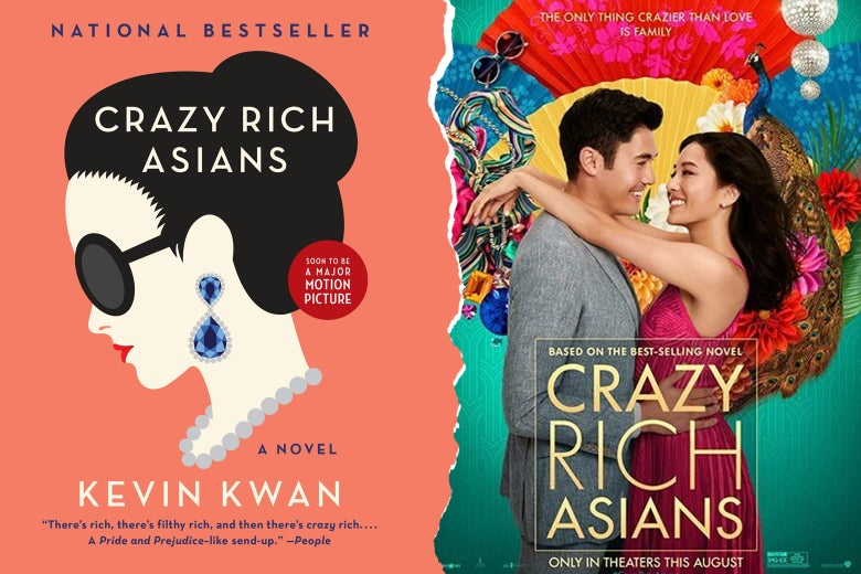 Crazy Rich Asians book cover and movie poster.