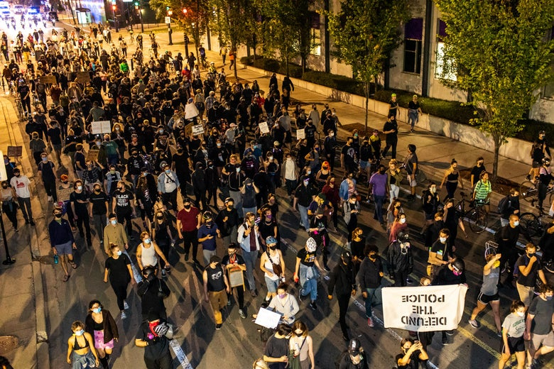 Protesters fill the streets during a march for Breonna Taylor on September 23, 2020 in Chicago, Illinois.