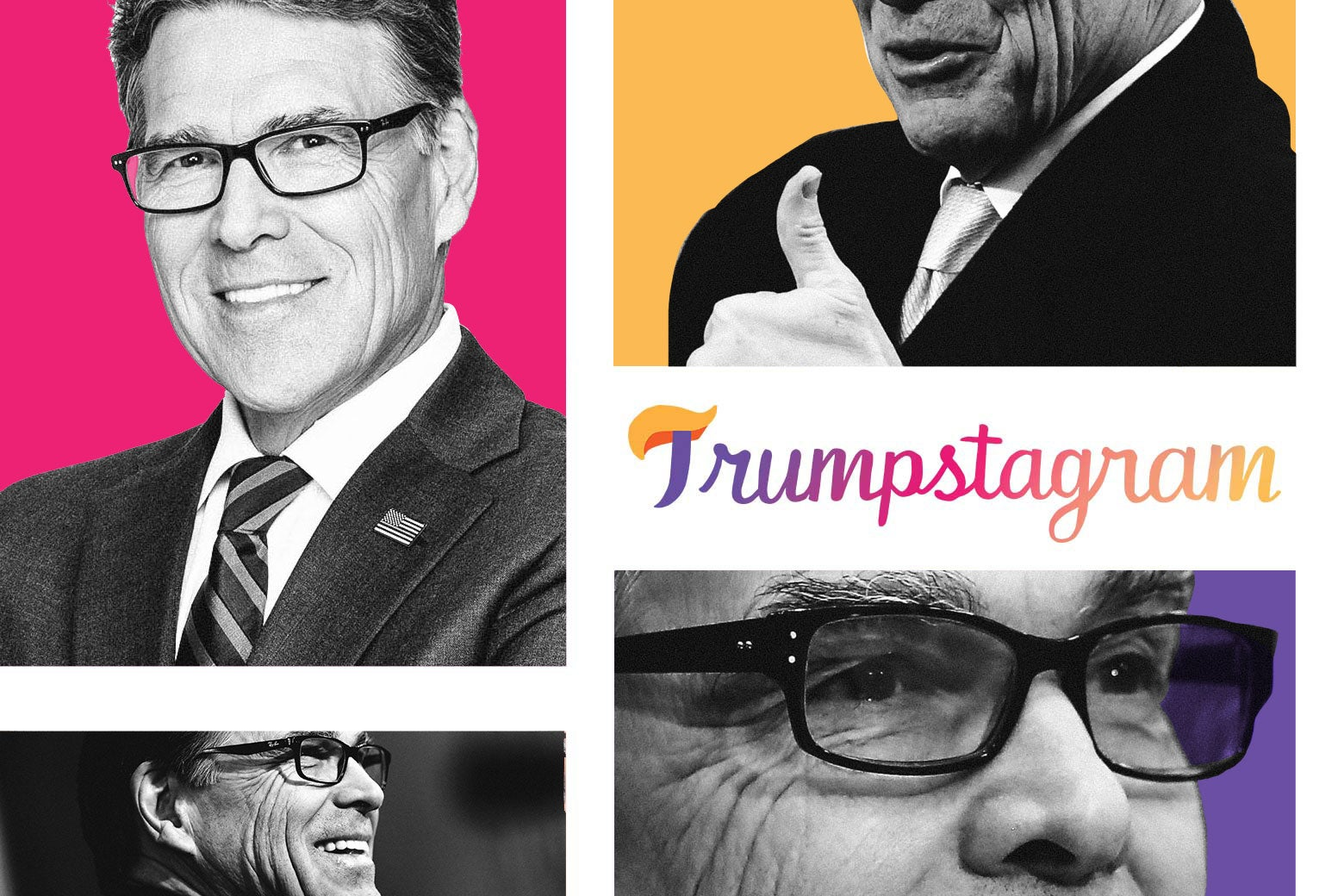 A grid featuring photos of Rick Perry smiling and giving the thumbs-up.