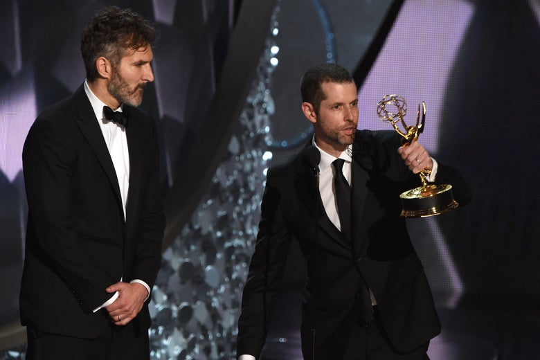 Writer/producers David Benioff (L) and D.B. Weiss accept the Outstanding Writing for a Drama Series for 'Game of Thrones' episode Battle of the Bastards during the 68th Emmy Awards show on September 18, 2016 at the Microsoft Theatre in downtown Los Angeles.  / AFP / Valerie MACON        (Photo credit should read VALERIE MACON/AFP/Getty Images)