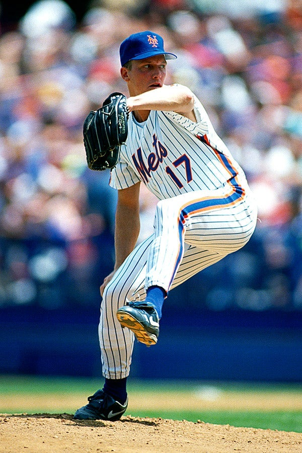 David Cone pitches during a game circa 1991 at Shea Stadium.