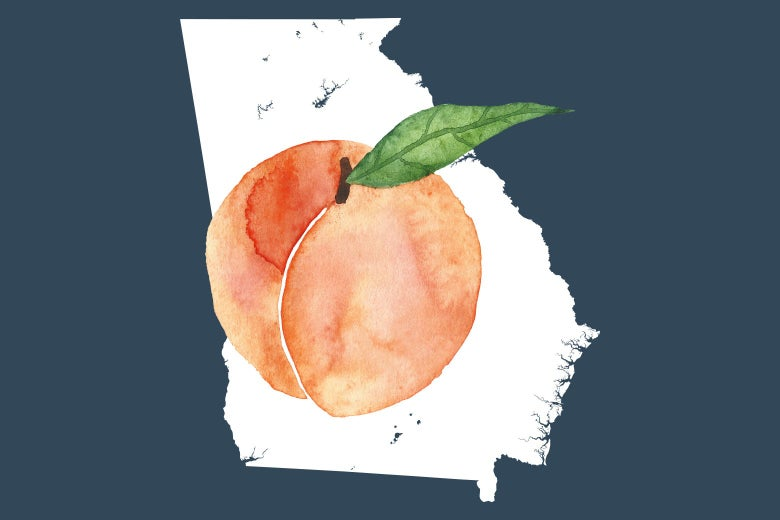 A peach is seen on a map of Georgia.