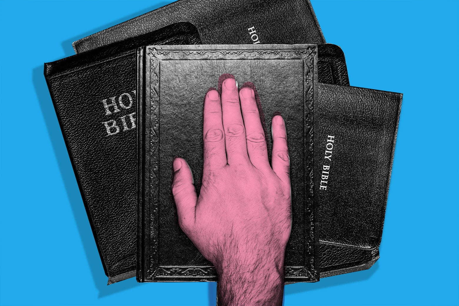 Photo illustration of a hand over a stack of Bibles.