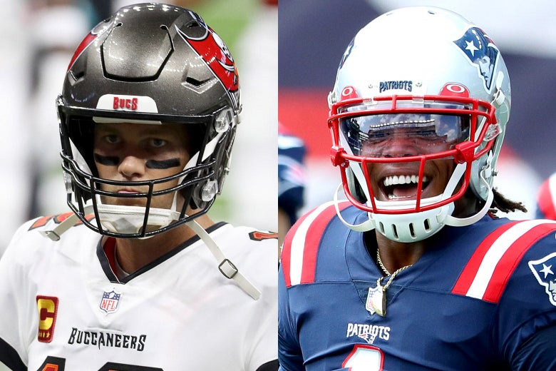 Side-by-side photos of Tom Brady as a Buccaneer and Cam Newton as a Patriot.