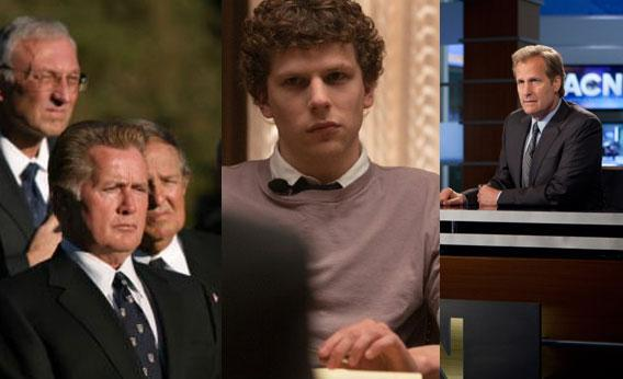 Martin Sheen in The West Wing, Jesse Eisenberg in The Social Network, and Jeff Daniels in The Newsroom.