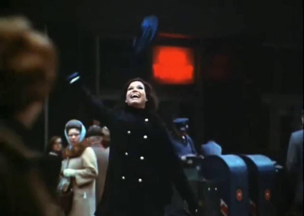 Mary Tyler Moore throws her hat aloft in the show's famous opening credits.