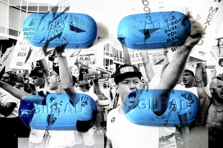 A collage of Truvada pills and ACT UP protesters.