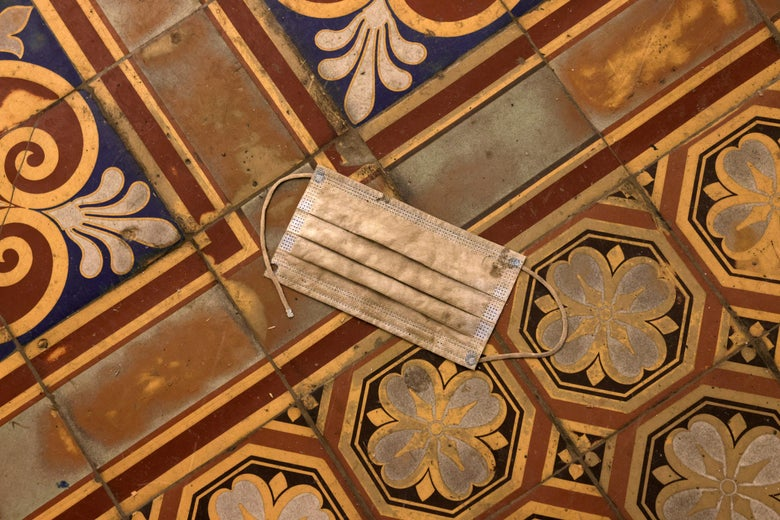 A mask is left behind on the Capitol floor.
