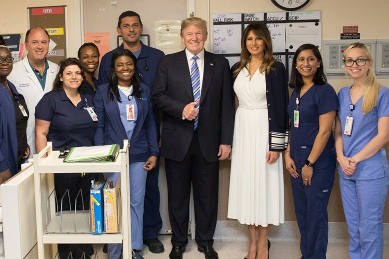 Thumbs Up! President Trump Congratulates Everyone for Their Hard Work During Another Mass Shooting.