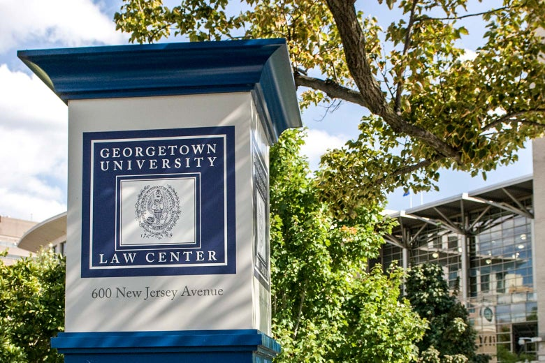 A Georgetown University Law Center sign on campus